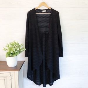 Altar'd State Black Open Long Duster Cardigan